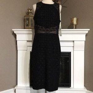 Maggy London Black Lace/Mesh Sleeveless Sheath